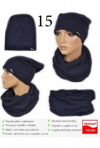 Komplet damski czapka i komin- granatowy Kielce- Titofirma