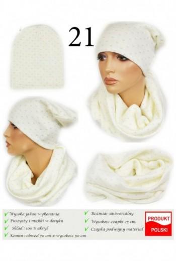 Modny zimowy zestaw czapka i komin- ecrue- TitoFirma