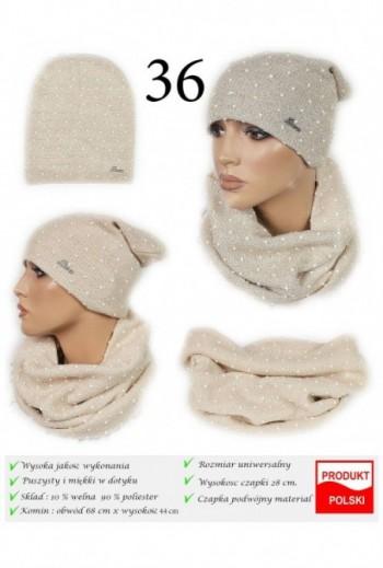 Zimowy komplet czapka i komin- Beżowy+ perełki TitoFirma