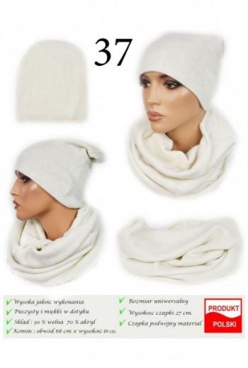 Zimowy komplet czapka i komin- Biały- TitoFirma