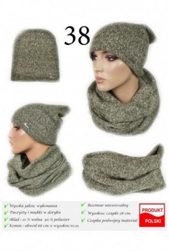 Zimowy komplet czapka i komin ciepły- Khaki- TitoFirma