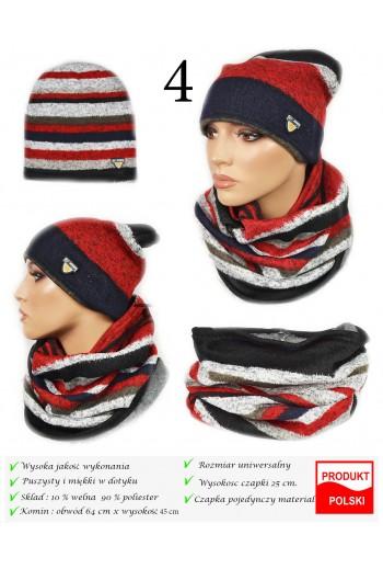 Komplet damski zimowy modny czapka i komin Titofirma