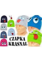 Czapka bawełniana dla dzieci z oczami w trzech wersjach.Smerfetka dla dzieci w wieku szkolnym i przedszkolnym.